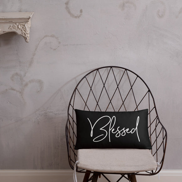 Throw Pillow Black 20in x 12in - Blessed