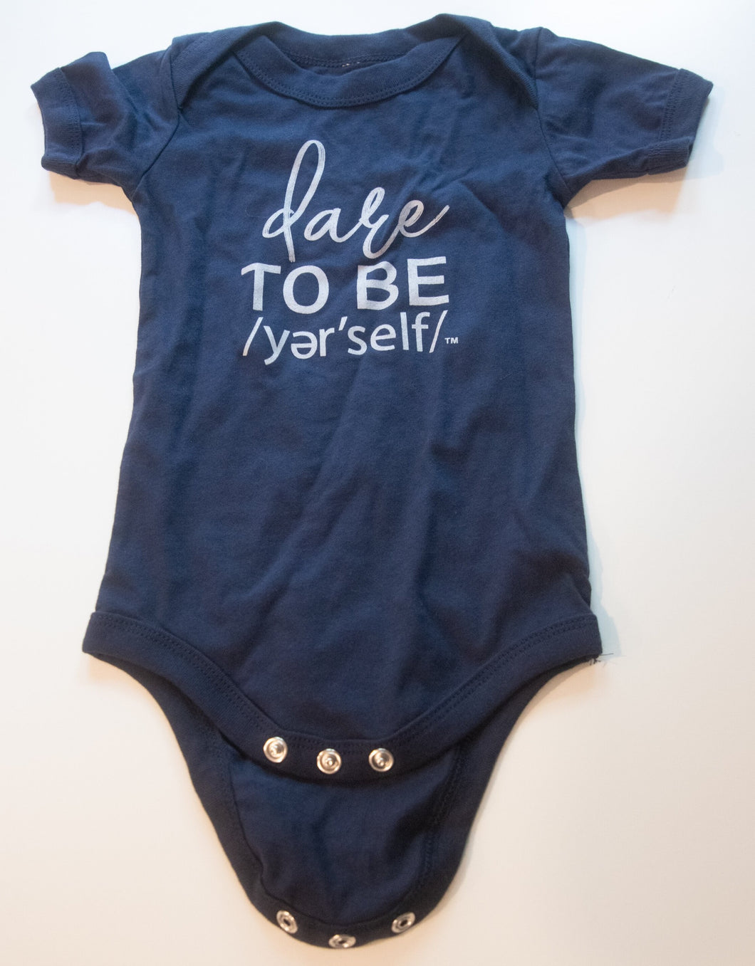 NAVY BABY ONESIE GRAY WRITING DTB YER'SELF