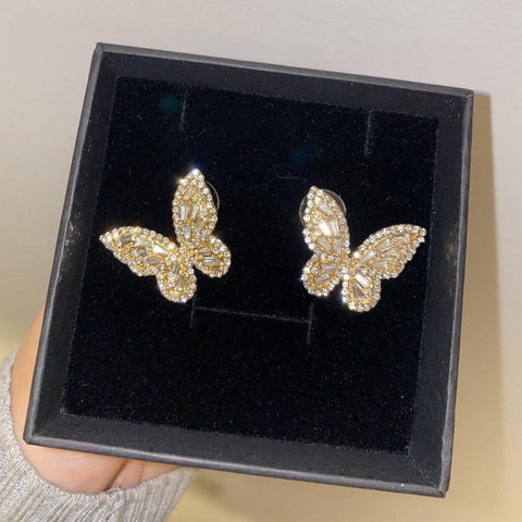 Large Gold Iced Butterfly Earrings