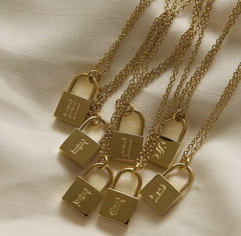 PRE ORDER Gold Alphabet Padlock Necklace
