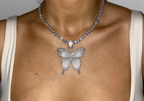 Premium Silver Butterfly Tennis Chain Necklace