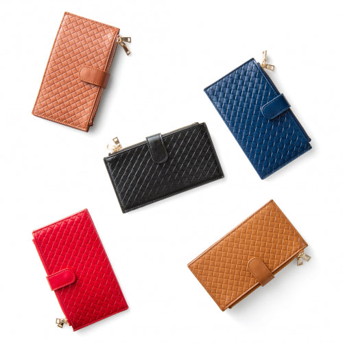 shopify-Multi-Functional Woven RFID Blocking Leather Wallet - 5 Colors-1
