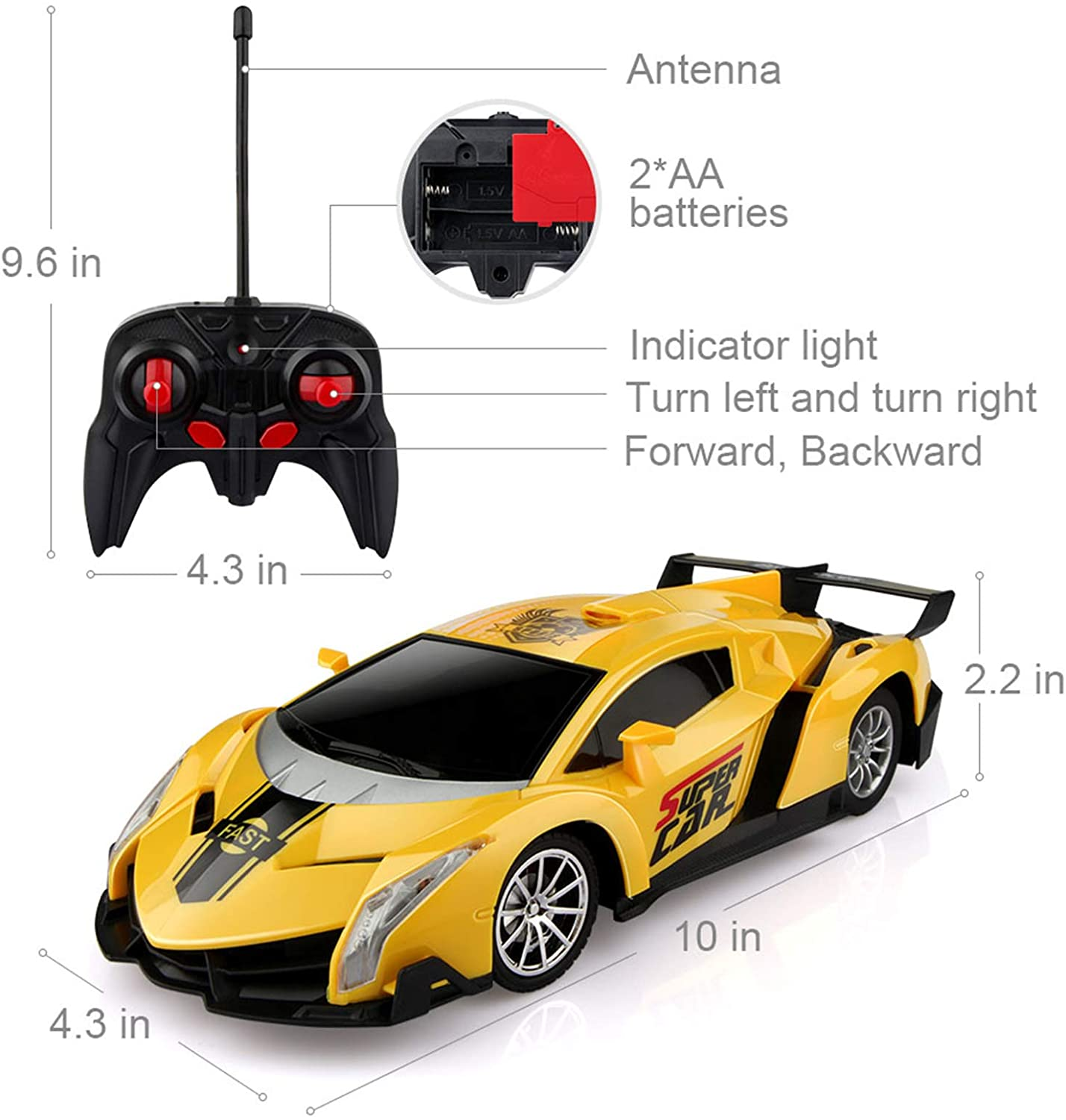 shopify-Electric Remote Control Car with Lights and Controller-2