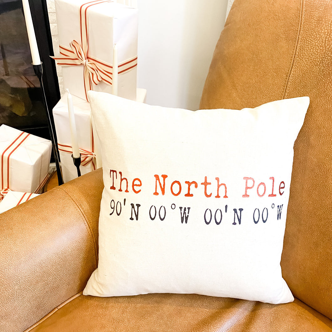 NORTH POLE COORDINATE PILLOW