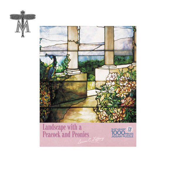 Louis Comfort Tiffany Landscape with Peacock and Peonies Puzzle