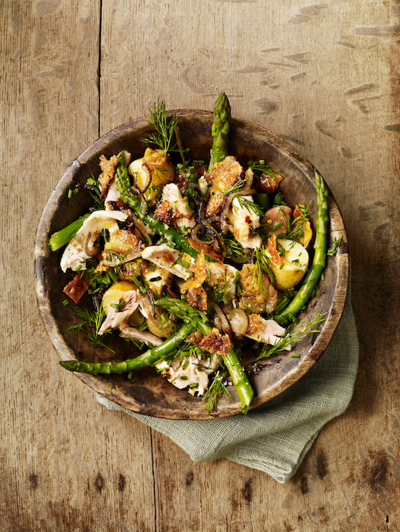 Salad of chicken, anchovies, jersey royals, asparagus, dill and chives by Gill Meller