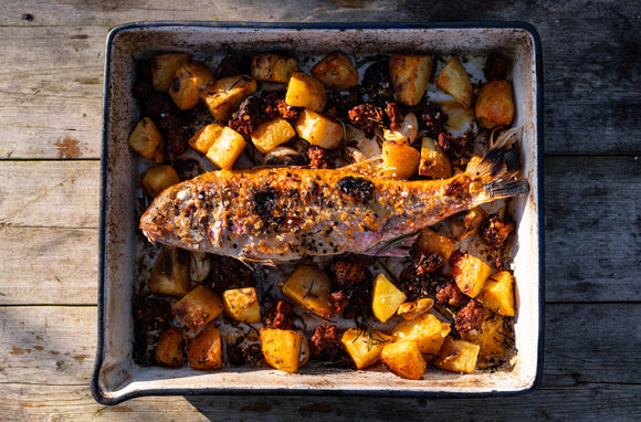 Gill Meller's roast red mullet with chorizo, potatoes, garlic and rosemary -Main (serves 2)