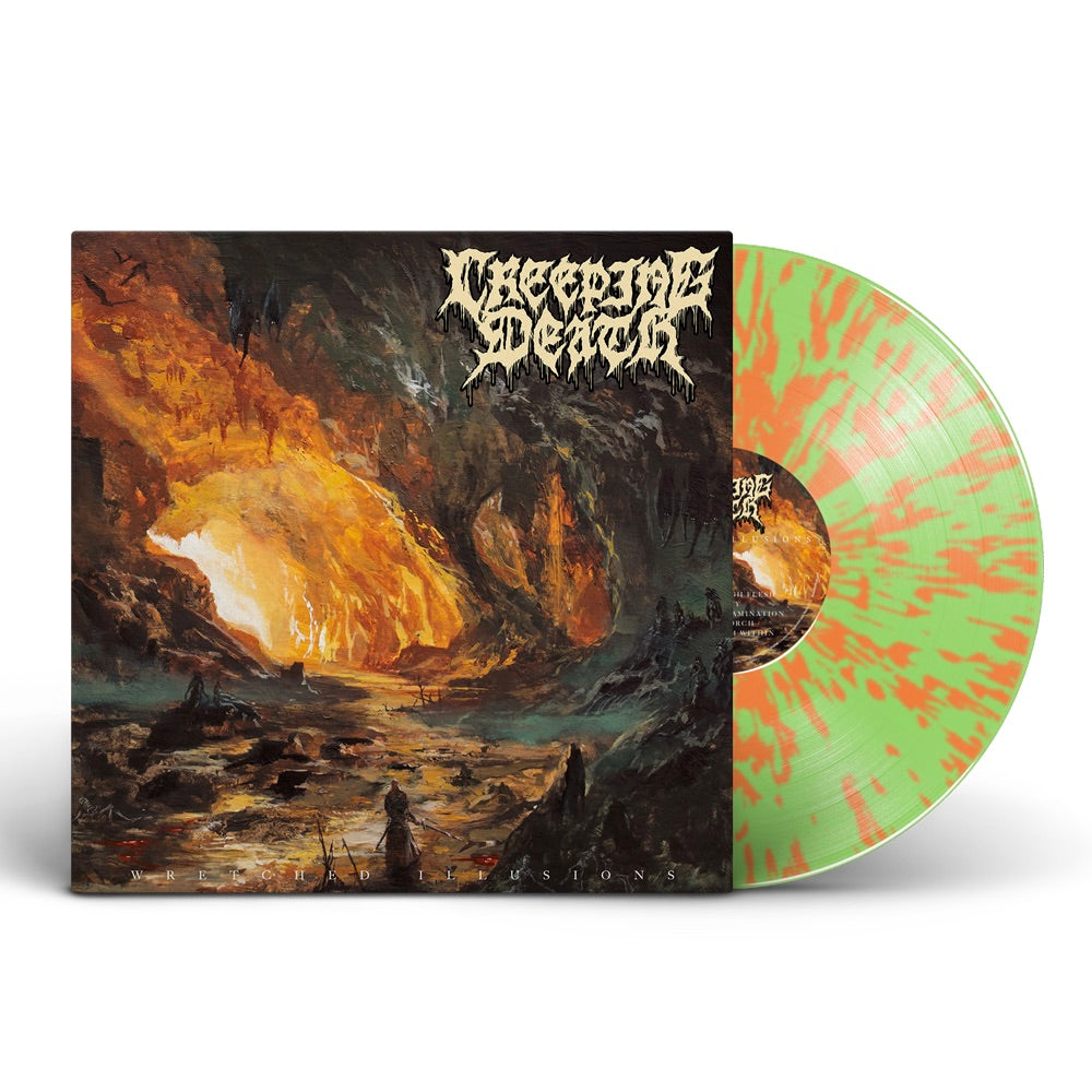 Creeping Death - Wretched Illusions 180 Gram LP (Green Glow in dark vinyl with Tangerine splatter)