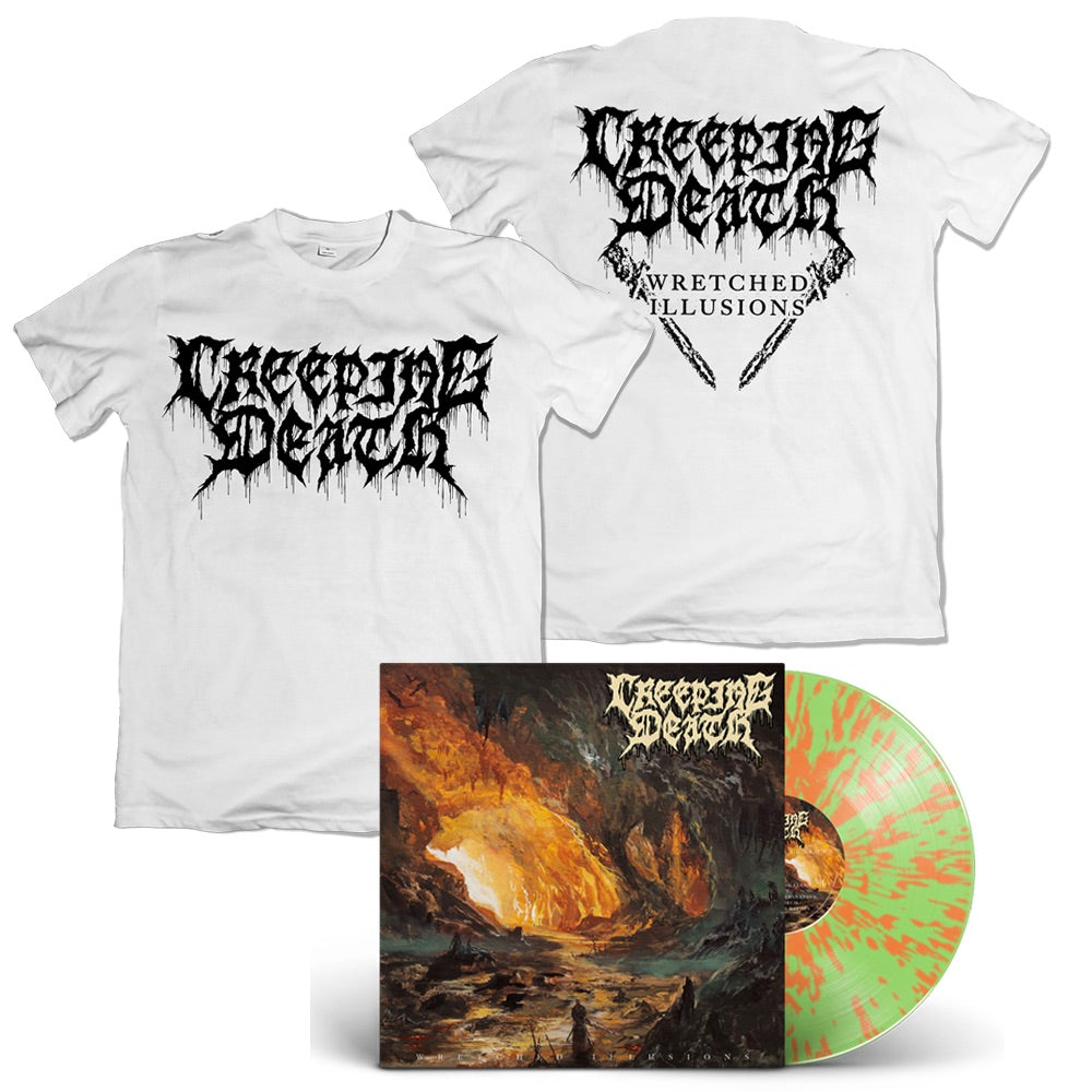 Creeping Death - Wretched Illusions - Bundle - LP + White T-Shirt
