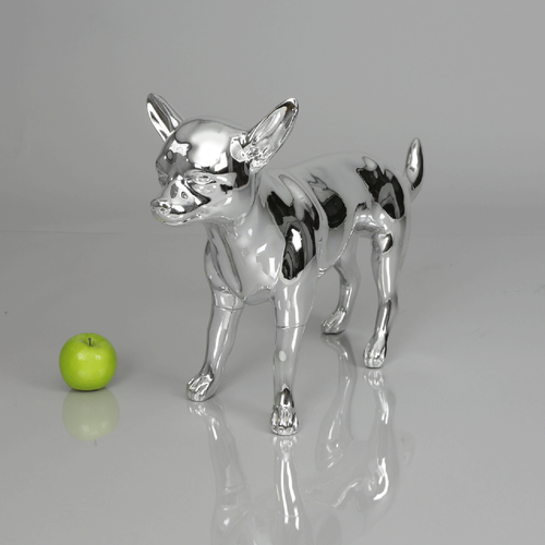 Chihuahua 2 Dog Mannequin: Chrome