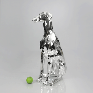 Greyhound Dog Mannequin: Chrome