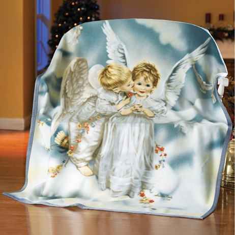 Kissing Angel Fleece Throw Blanket