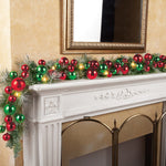 Lighted Colorful Ornament Wreath Garland