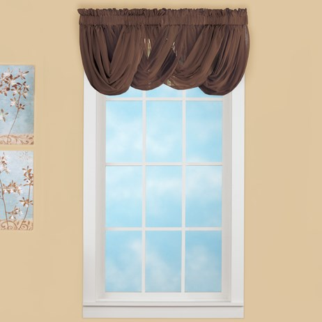 Sheer Scoop Chocolate Valance Curtains - 2 pc
