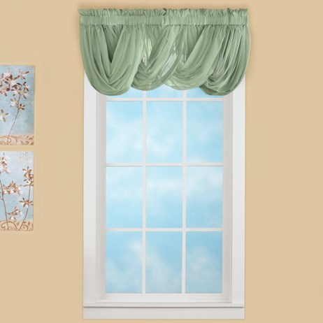 Sheer Scoop Sage Valance Curtains - 2 pc