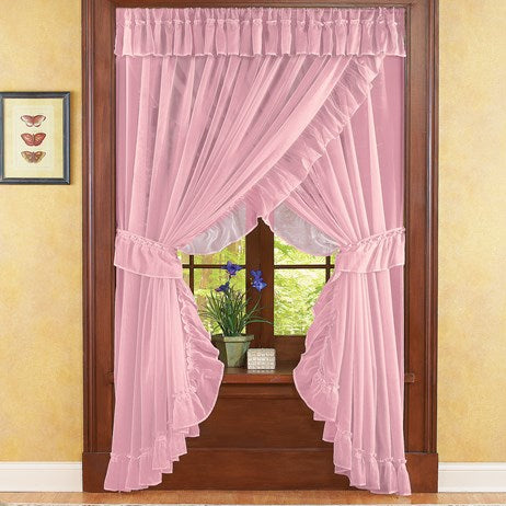 Ruffled Sheer Fabric Rose Curtain Set