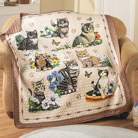 Quilted Charming Cat Collage Throw