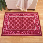 "26""*60""  Burgundy Two-Tone Leaf Rug"