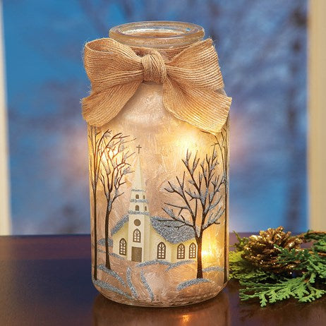 Frosted Christmas Jar Table Lamps-Church