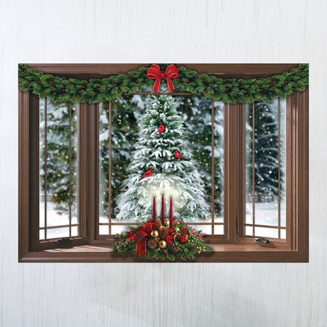 Frosted Pine Christmas Window Wall Decal
