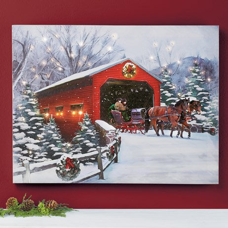 Snow Covered Bridge Light Up Wall Art