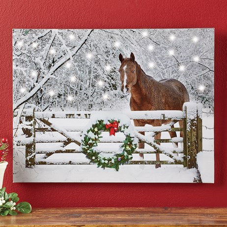 Lighted Snowy Horse Wall Art