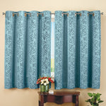 "Insulated Scroll Pattern Short Blue Curtain Panel(56""W x 54""L)"