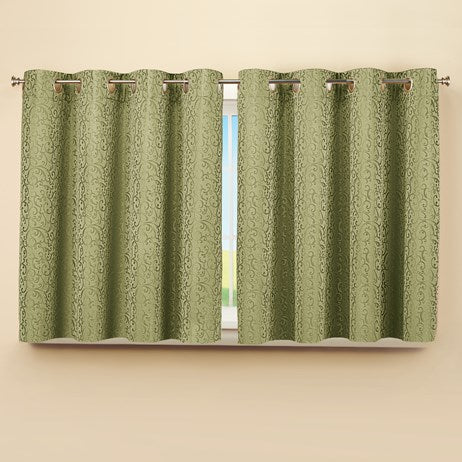 "Insulated Scroll Pattern Short Sage Curtain Panel(56""W x 45""L)"
