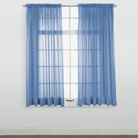 "Elegance Sheer Cobalt Window Curtain Panel(63""L x 60""W)"