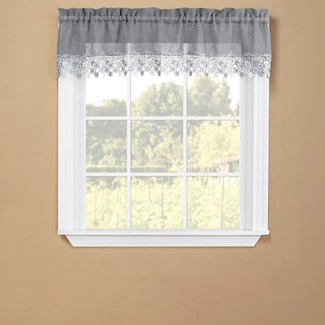 Floral Grey Lace Trim Window Curtains(Valance)