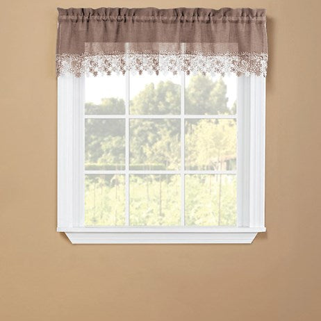 Floral Linen Lace Trim Window Curtains(Valance)
