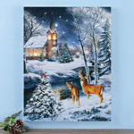 Lighted Wintery Church Scene Wall Art