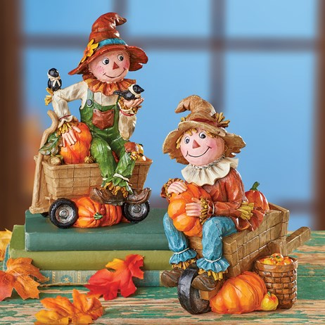 Scarecrows Table Decor Figurines - Set of 2