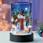 Lighted LED Snowman Glass Candle