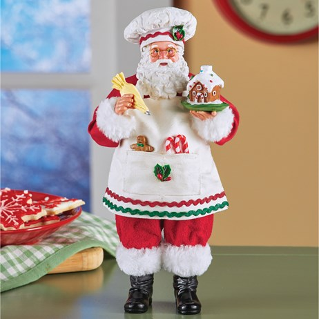 Cooking Santa with Gingerbread House Statue