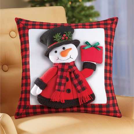 3D Snowman Decorative Pillow with Checkered Border