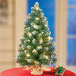 2-ft Pre Lit Snow Covered Tabletop Christmas Tree
