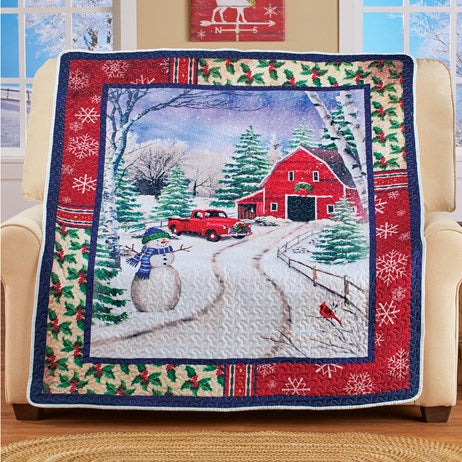 Winter Barn Scene Decorative Quilted Throw