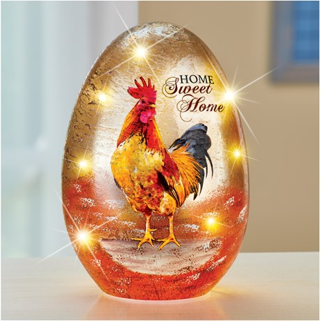 LED Lighted Colorful Rooster Tabletop Glass Egg