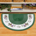Green Bird Floral Braided Slice Accent Rug