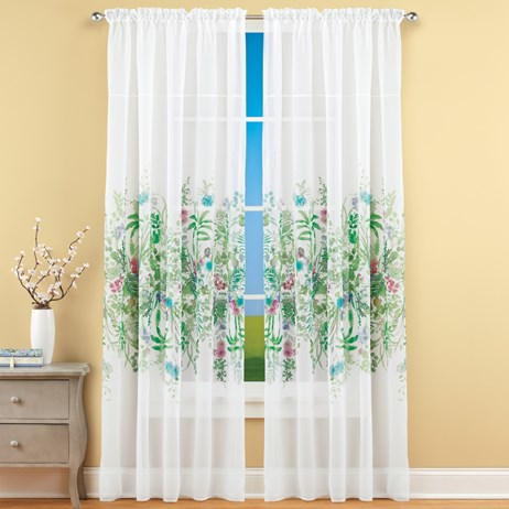 Watercolor Floral Sheer Rod Pocket Curtain Panel