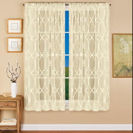 "Scrolling Embroidered Sheer Curtain Panel Ivory(63""L x 52""W)"