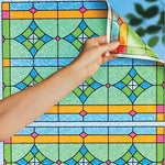 Removable Patterned Cut to Fit Window Static Clings Stain Glass Abstract