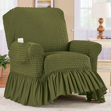Textured Squares Ruffled Green Slipcover-Recliner