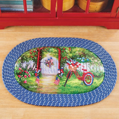 Red White and Blue Patriotic Scene Braided Accent Rug