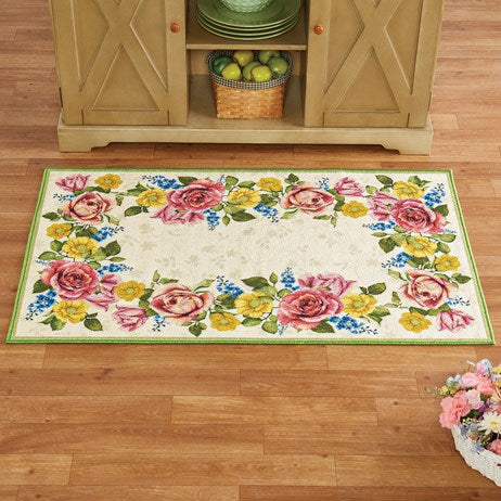 "27""*45"" Cream Color Non Slip Pink Yellow and Blue Flowers Border Rug"