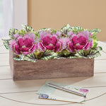 Artificial Cabbage Roses Floral Centerpiece in Barnwood Style Box