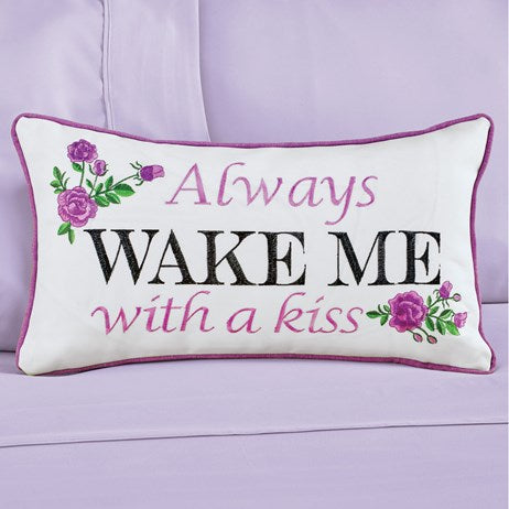 Always Wake Me With A Kiss Embroidered Purple Roses Accent Pillow