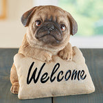 Friendly Pug Decorative Welcome Pillow Sign