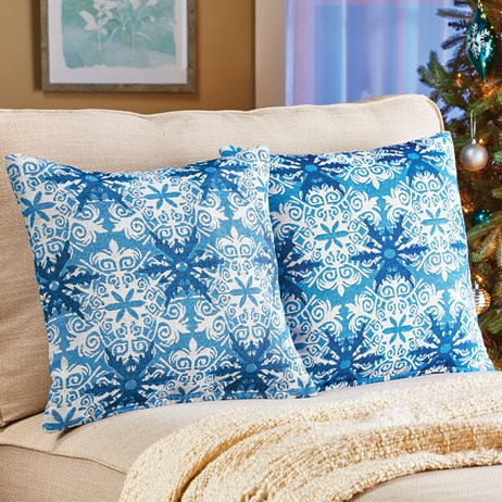 Set of 2 Holiday Snowflake Tapestry Pillow Covers